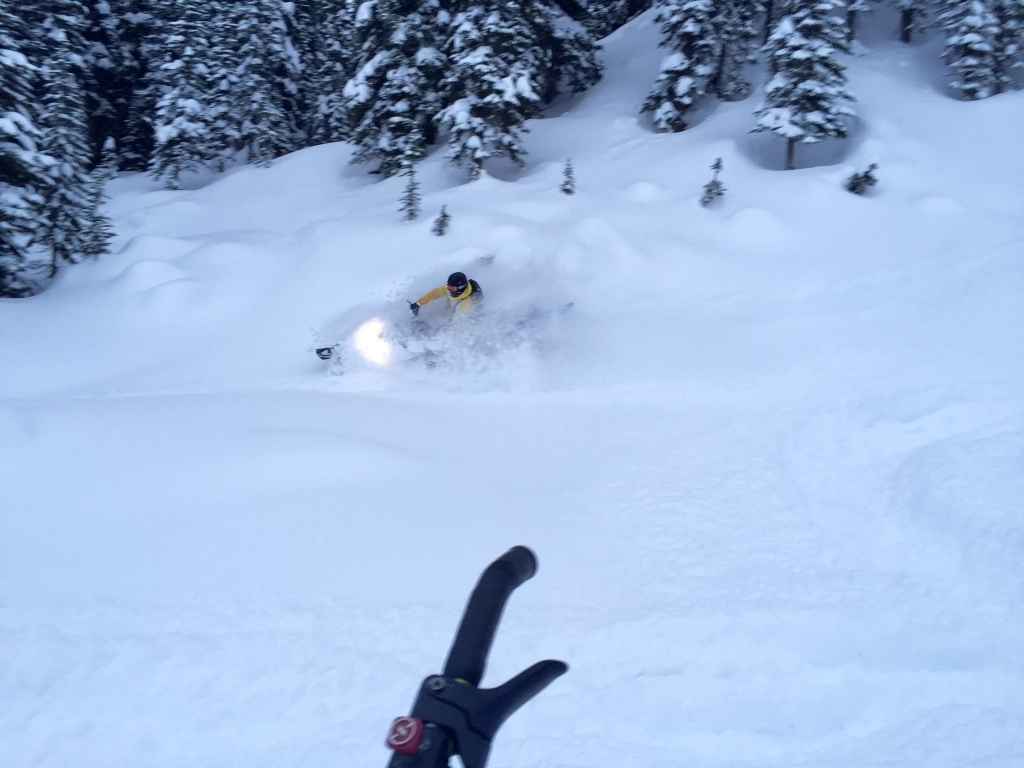 Pow turns Dec 7. Photo Chris Soaper