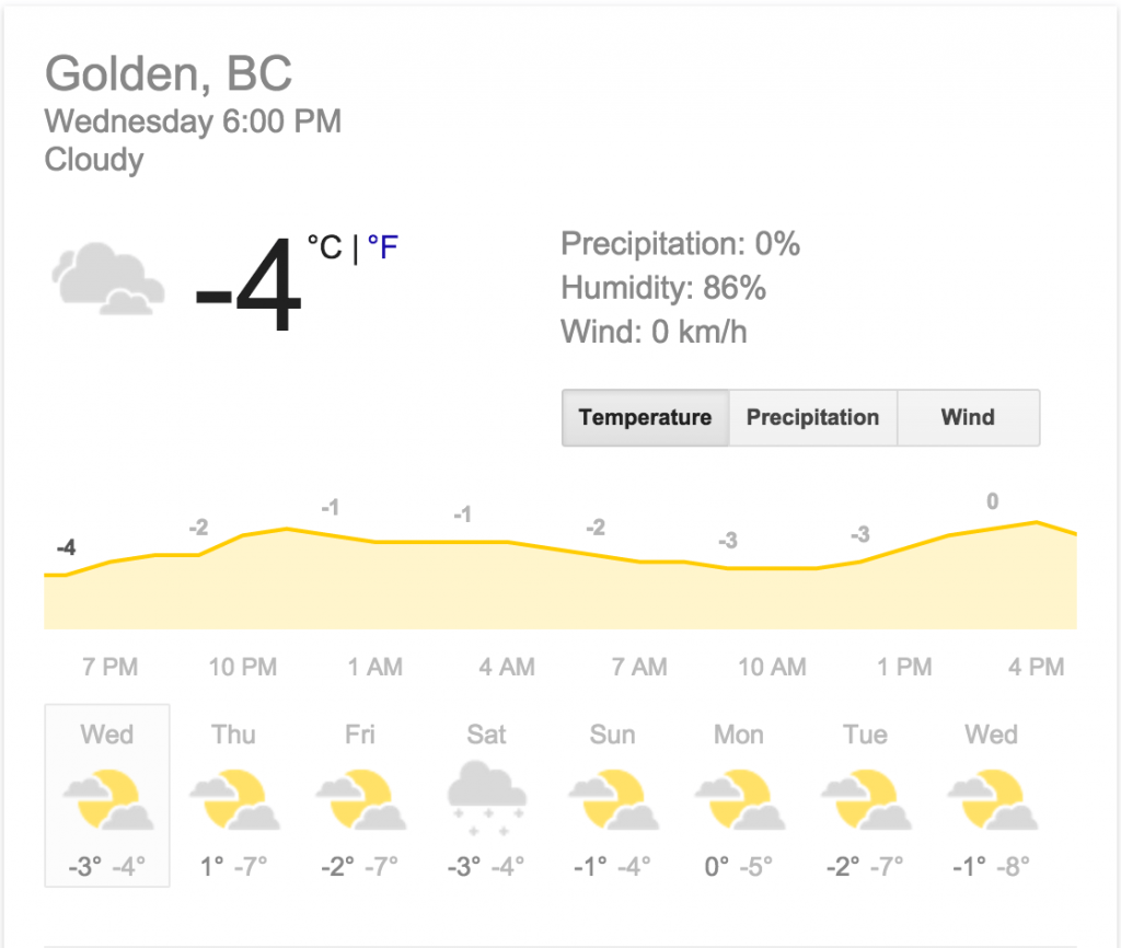 Golden BC weather forecast