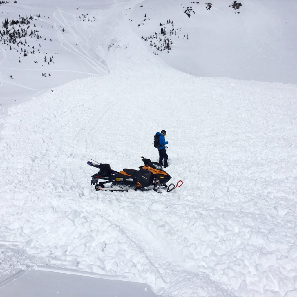 A scary sledder triggered avalanche in Gorman Lake this week.