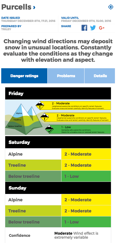 Purcell Mountains avalanche forecast on Dec 8, 2016