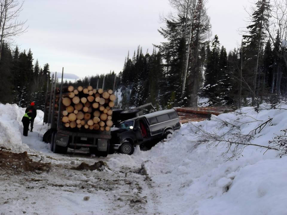 "This is a truck vs logging rig accident that required an emergency helicopter evacuation in 2016. DON""T LET THIS HAPPEN TO YOU"