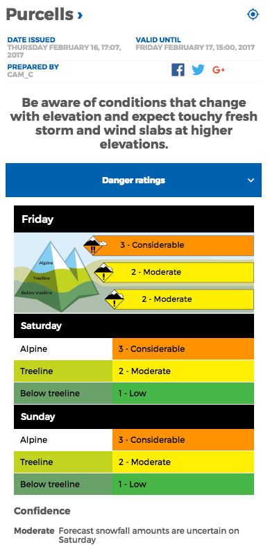 Avalanche.ca conditions report for the Purcells on Feb 16, 2017