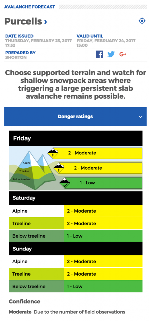 Avalanche.ca avalanche forecast on Feb 23, 2017 for the Purcell mountains.