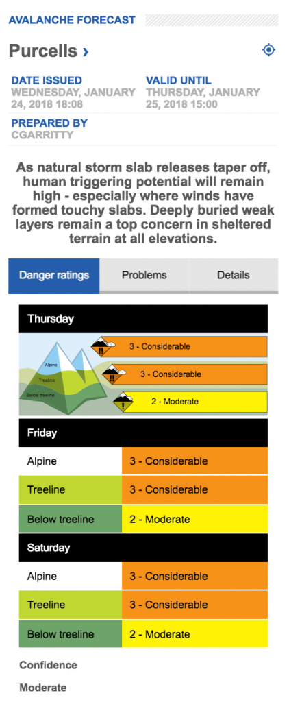 Screen capture of Purcell avalanche forecast from Avalanche.ca on Jan 24, 2017