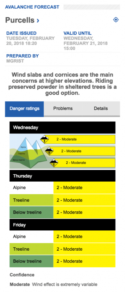Avalanche.ca Purcell Mountain forecast on Jan 21, 2018
