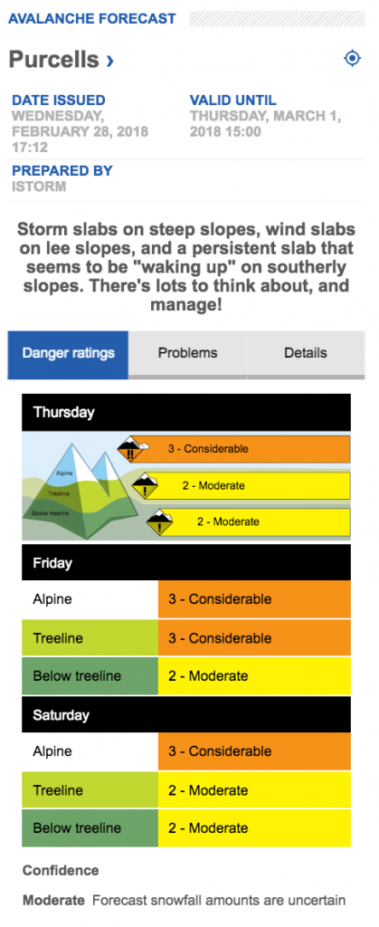 Avalanche conditions for Purcell mountains, screen shot on Feb 2018
