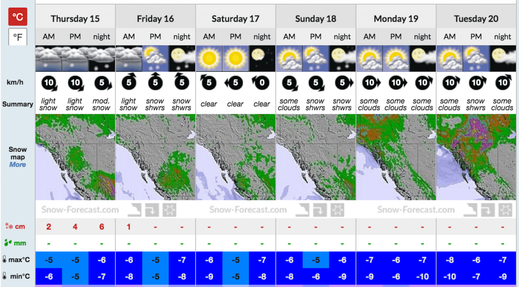 Looks like about half a foot and then sunny again for the weekend.