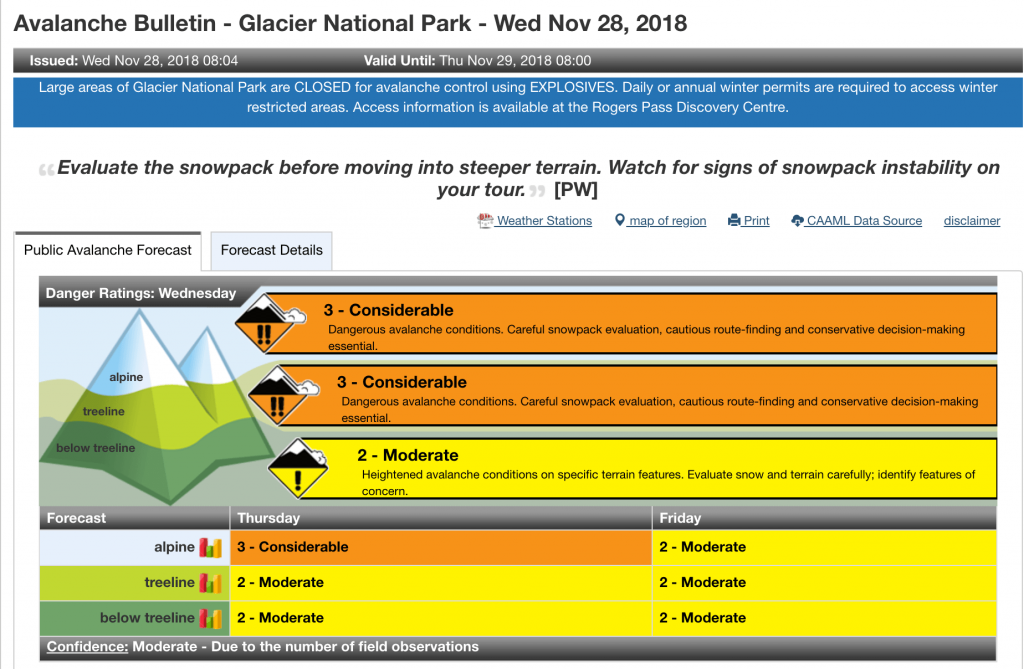 Screen shot of Parks Canada avalanche bulletin for Glacier NP on Nov 28, 2018