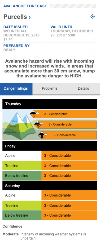Purcell avalanche forecast on Dec 19, 2018