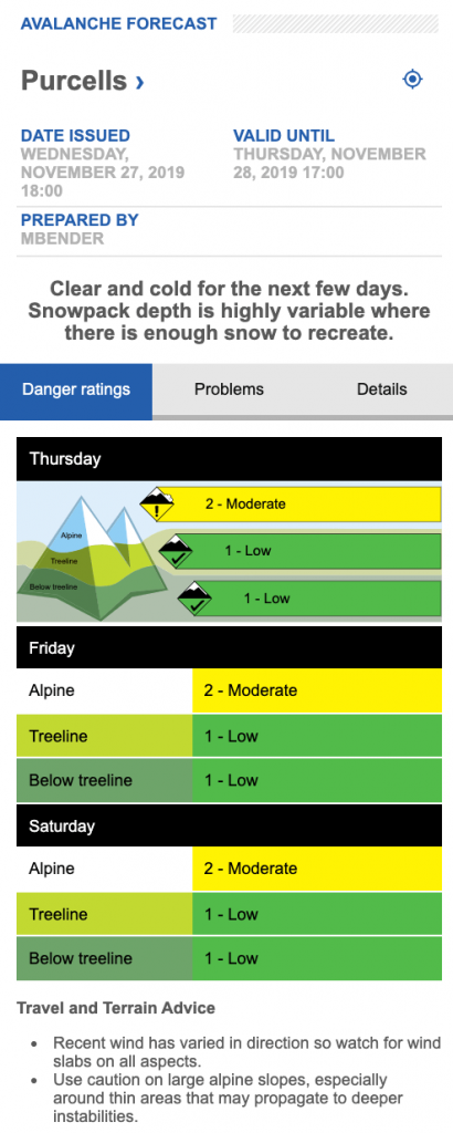 Screen shot of Purcell avalanche forecast on Nov 27.