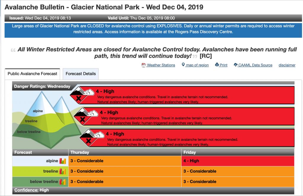 screen shot of Glacier National Park forecast