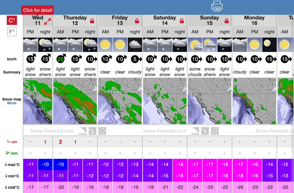 Screen shot of forecast near Quartz on Dec 11