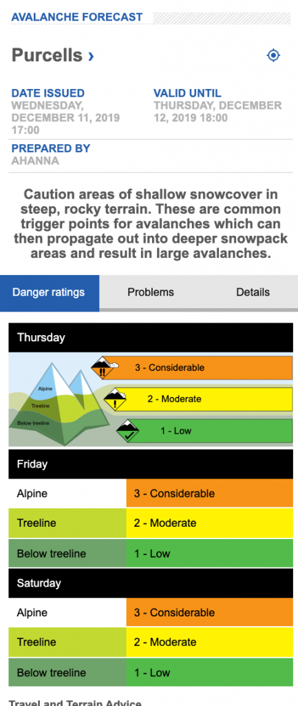 Screen shot of Purcell avalanche forecast on Dec 11