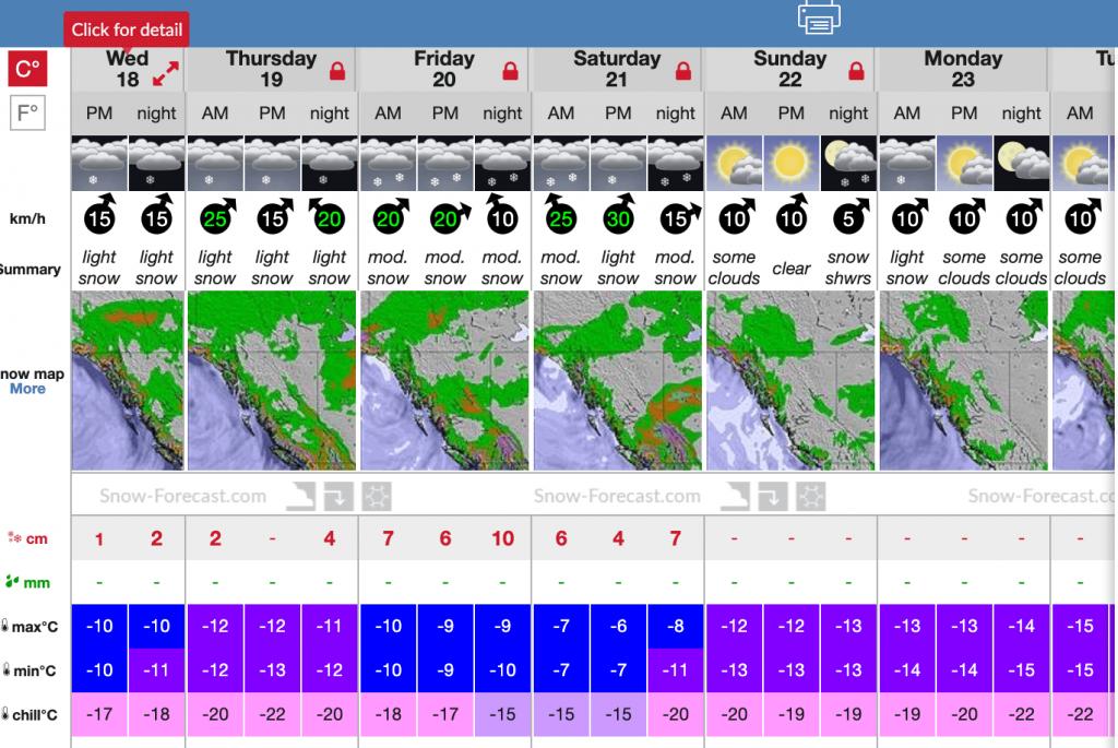 Snow forecast for Quartz area on Dec 18
