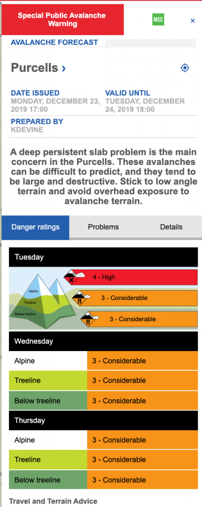Avalanche conditions screen shot on Dec 24