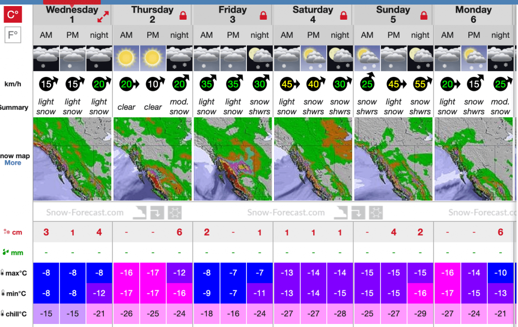 Snow and weather forecast for near Quartz on Jan 1