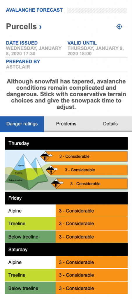 Screen shot of avalanche forecast for Purcells on Jan 8