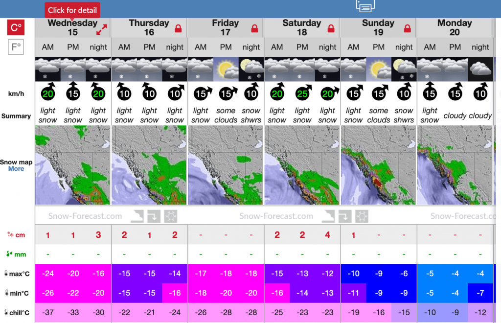 screen shot of weather and snow forecast on Jan 15