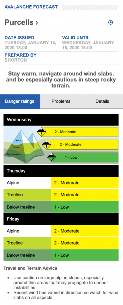 screen shot of Purcell avalanche forecast on Jan 15
