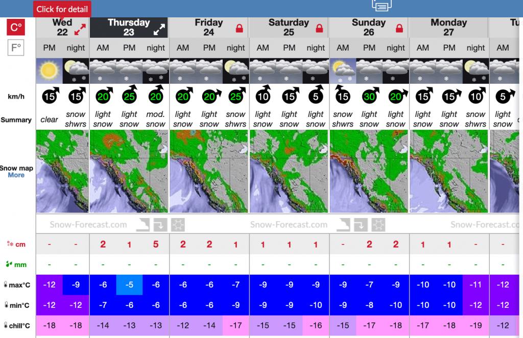 Screen shot of condition forecast near Quartz
