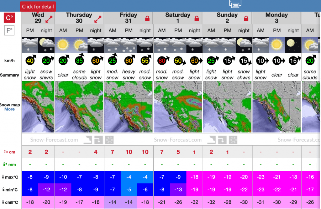 Snow forecast near Quartz screen shot on jan 29