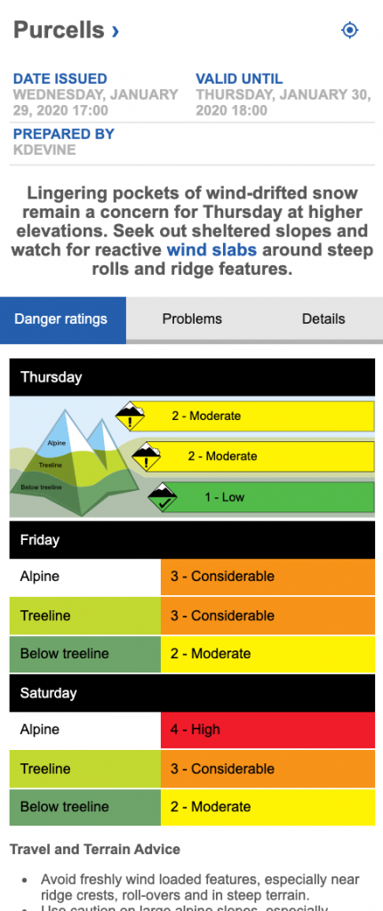 Screen shot of Purcell avalanche forecast on Jan 29