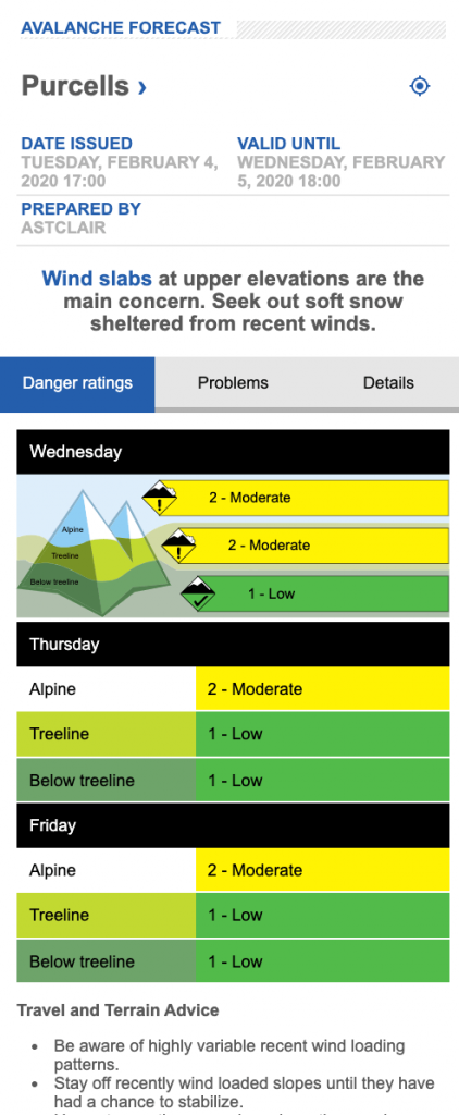 Screen shot of Avalanche.ca forecast for the Purcells on Feb 5, 2020