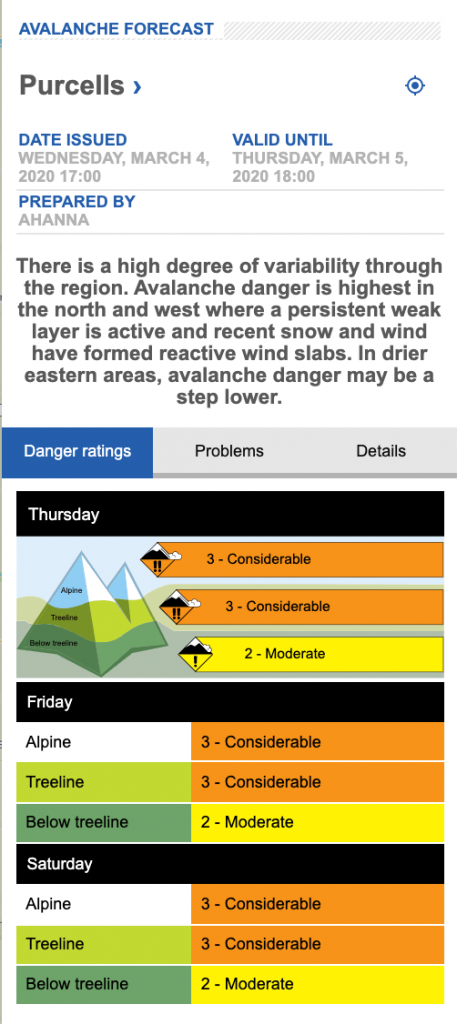 Screen shot of avalanche forecast on Mar 4. for the Purcell range.